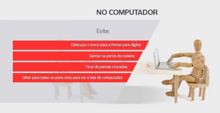 Como corrigir a má postura nas atividades do dia a dia: Evite no computador