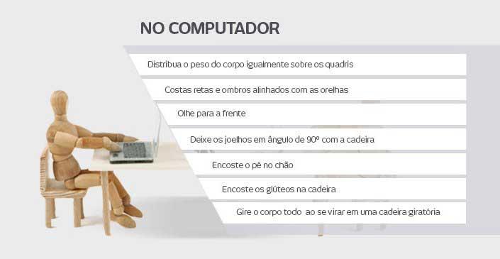 Como corrigir a má postura nas atividades do dia a dia: No computador